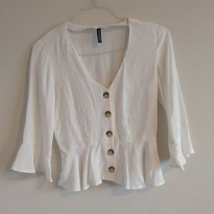 nwot DIVIDED white button up blouse